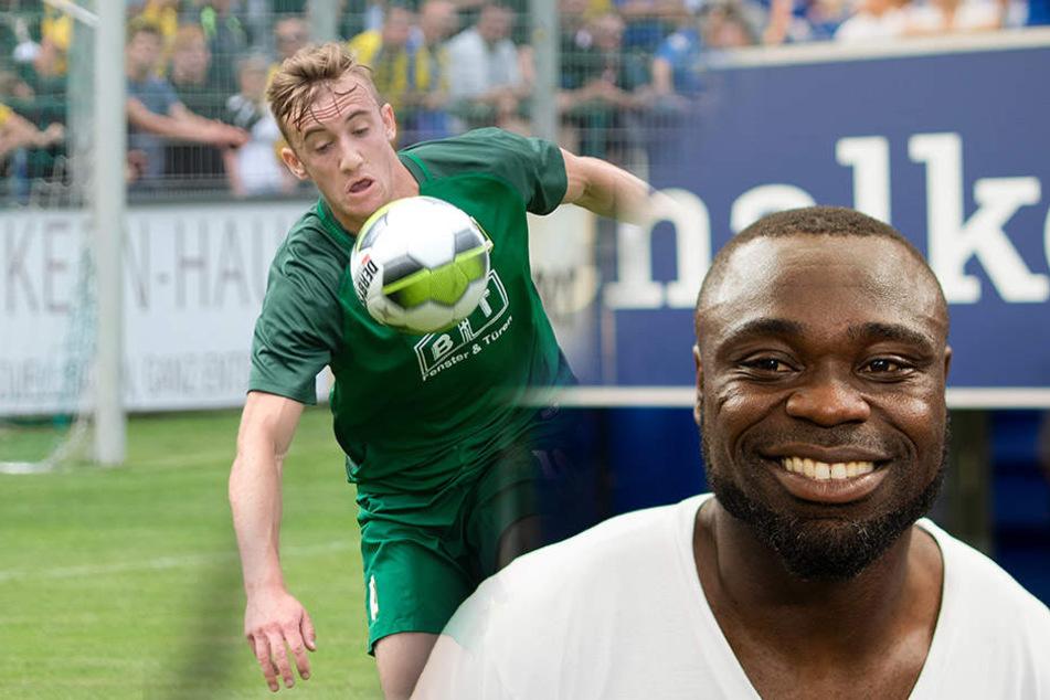 Bald gegeneinander auf dem Platz: Chemie Leipzig (Spieler Philipp Wendt, links) gegen die Schalker Amateure um Asamoah (rechts).