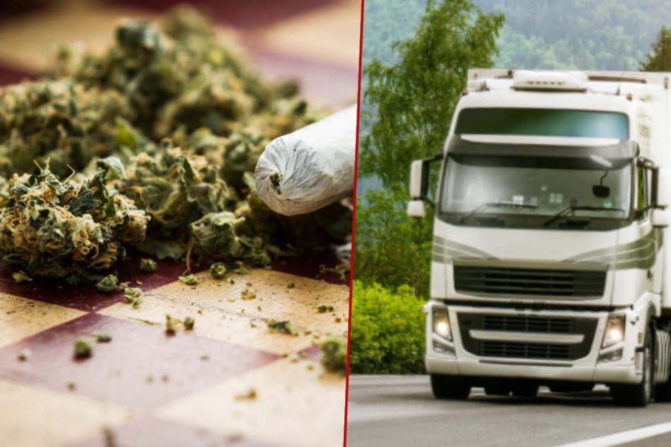 Einsatzkräfte von Landeskriminalamt haben am Freitag einen Lastwagen abgefangen, der rund 250 Kilogramm Marihuana zu einer Lagerhalle in Großwoltersdorf brachte. (Symbolbild/Bildmontage)