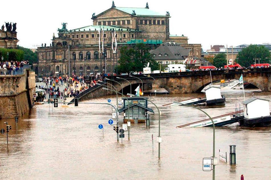 Flutkatastrophe in Dresden im Jahr 2002.