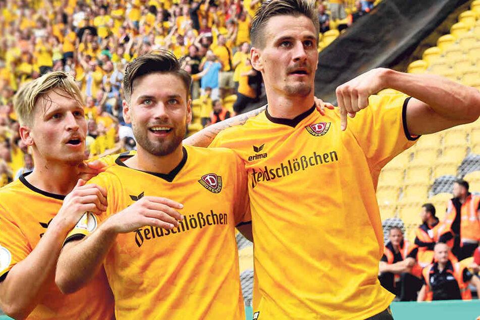 Marvin Stefaniak, Niklas Kreuzer und Stefan Kutschke (v.l.) feierten zusammen bei Dynamo große Erfolge.