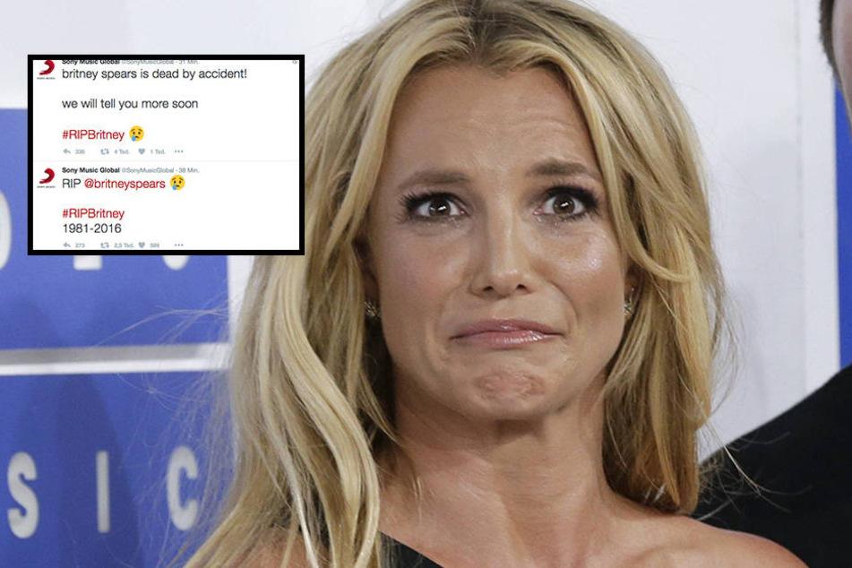 Der makabere Tweet des gehackten Sony-Accounts besagt, dass Britney Spears bei einem Unfall ums Leben gekommen sei.