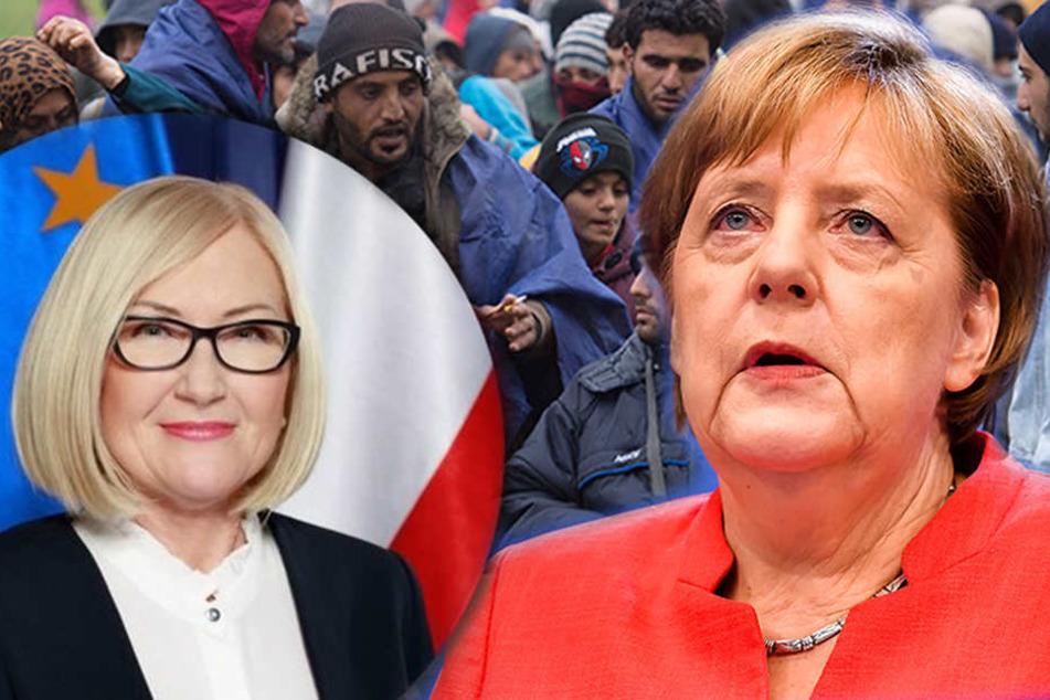 Die polnische Regierungssprecherin Joanna Kopcińska (li.) bestreitet, dass neue Abmachungen mit Kanzlerin Merkel zur Flüchtlingsfrage getroffen wurden.