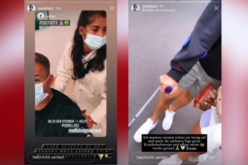 Sarah Lombardi (27) kümmert sich um ihren verletzten Kicker Julian Büscher (27).