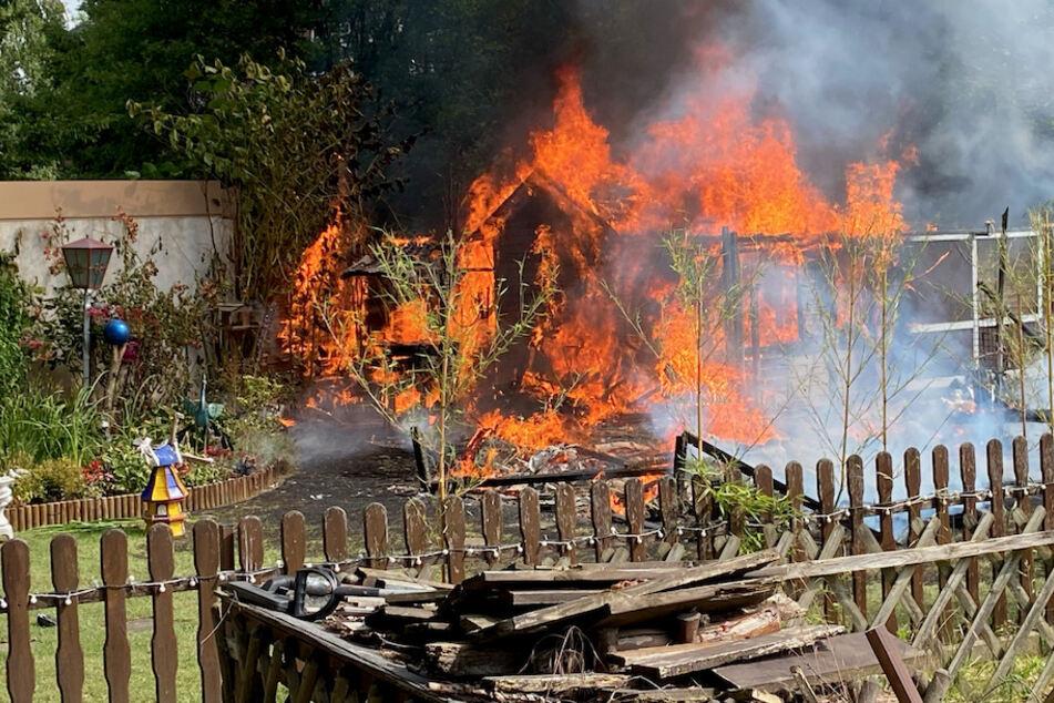 Die Laube und die Voliere mit 20 Sittichen brannten komplett ab.