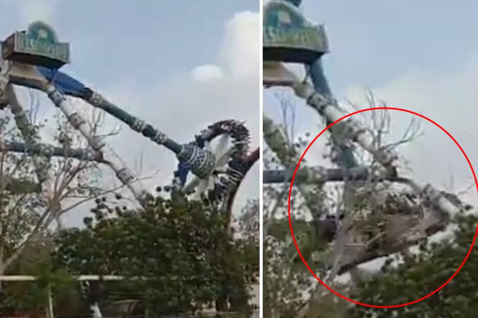 Horror-Szene im Freizeitpark: Arm von Karussell bricht ab und stürzt in die Tiefe