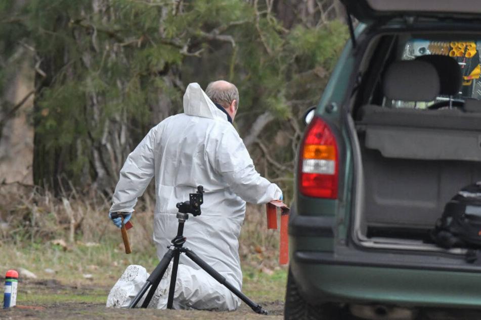 Ein Kriminaltechniker sichert Spuren auf dem Boden an einem Waldgebiet im Landkreis Oder-Spree im Fall der vermissten Rebecca.