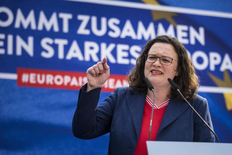 SPD-Chefin Andrea Nahles (48) beim Wahlkampf-Abschluss in Bremen.