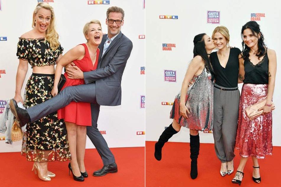 Foto links: Eva Mona Rodekirchen (l-r), Iris Mareike Steen und Clemens Löhr. Foto rechts: Anne Menden (l-r), Lea Marlen Woitack und Linda Marlen Runge