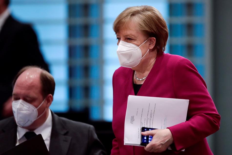 Bundeskanzlerin Angela Merkel (66, CDU) kommt zur wöchentlichen Kabinettssitzung im Kanzleramt.