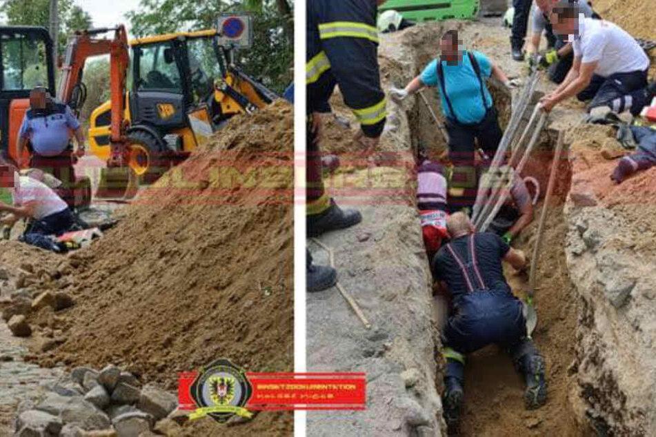Feuerwehrleute graben verschütteten Arbeiter mit bloßen Händen aus