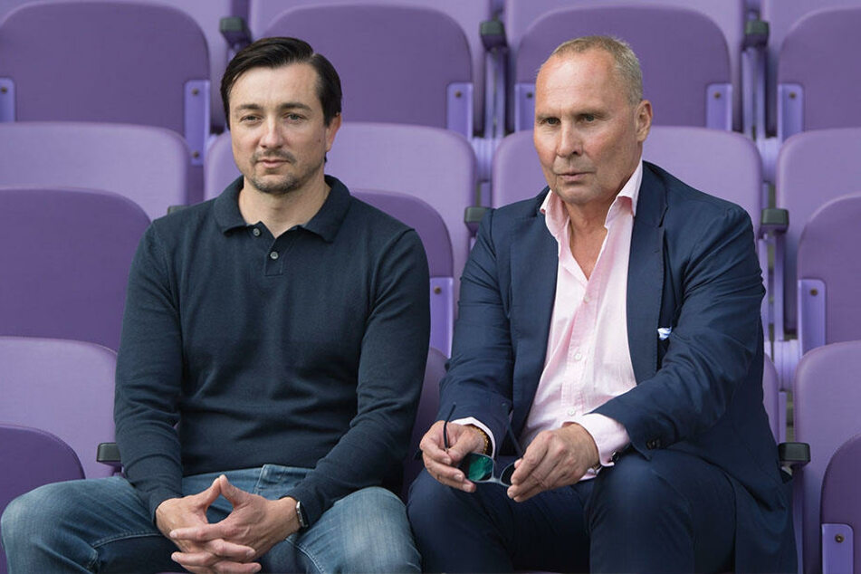 Aues neuer Trainer Daniel Meyer (l.) und Präsident Helge Leonhardt müssen noch einige Lücken im Kader schließen.