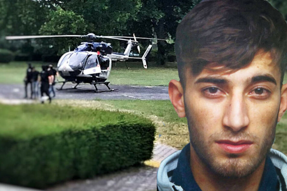 Ein Polizeihubschrauber brachte Ali Bashar vom Frankfurter Flughafen nach Wiesbaden.