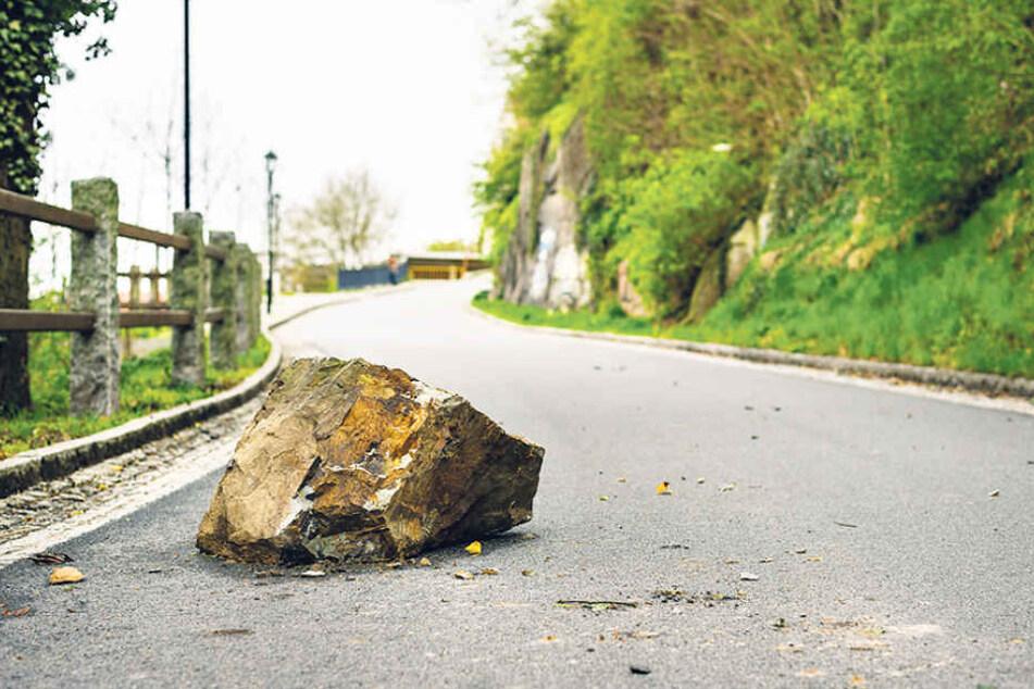 In Kamenz ist dieser 500-Kilo-Brocken auf die Straße Herrental gekracht.  Heute soll das Schwergewicht weggeräumt werden.