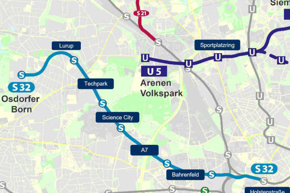 Die Karte zeigt den möglichen Verlauf der S32 in Hamburg.
