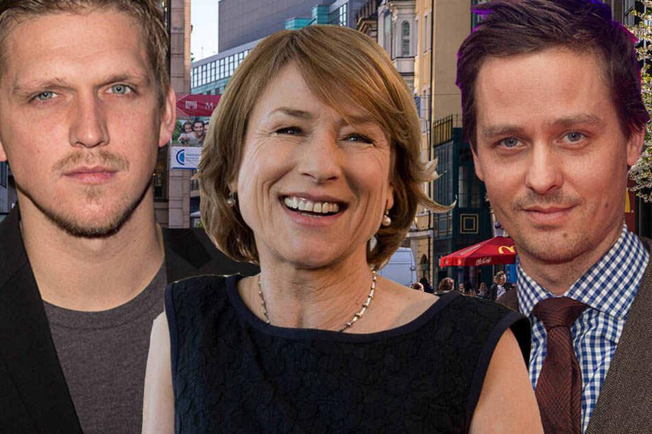 v.l.n.r.: Regisseur Jan-Ole Gerster, Schauspielerin Corinna Harfouch und Tom Schilling waren am Montag in der Leipziger Innenstadt zu sehen.