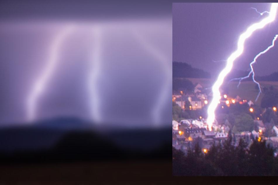 Heftige Gewitter zogen in der Nacht über das Erzgebirge, dabei schlug auch ein Blitz in Buchholz ein.