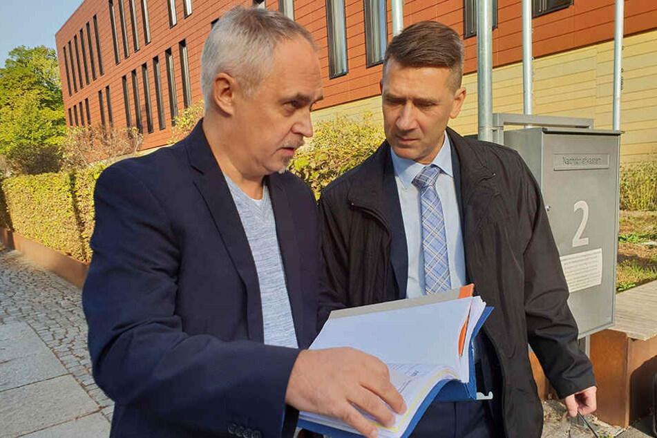 Ex-Ehrenrat des Chemnitzer FC Mario Lengtat (l.) und Vorstandsvorsitzender des Chemnitzer FC Andreas Georgi.