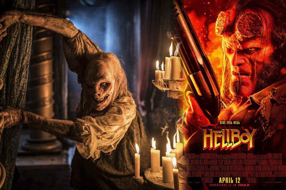 Hellboy (r., David Harbour) muss gegen viele dämonische Monster antreten. (Bildmontage)