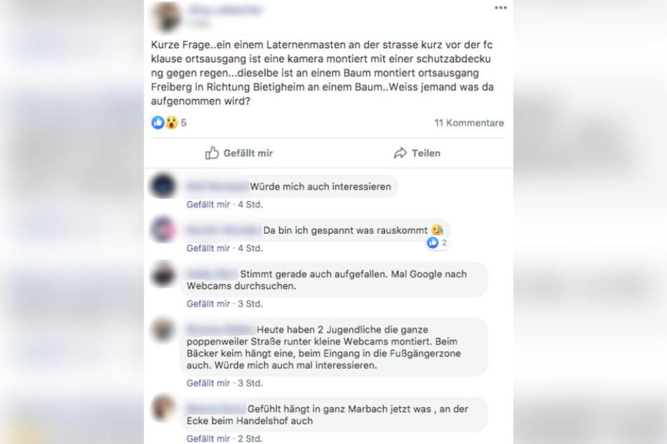 """In der Facebook-Gruppe """"Die Marbacher"""" waren die Kameras am Donnerstag Gesprächsthema. (Screenshot)"""