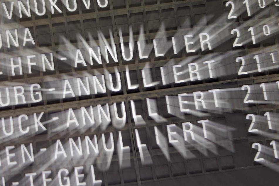 """Dutzende Flüge am Flughafen Frankfurt wurden aufgrund des Sturmtiefs """"Fabienne"""" gecanceled (Symbolbild)."""