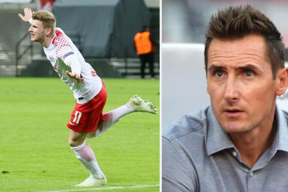 """WM-Rekordtorschütze Miroslav Klose (39, r.) sagt über Timo Werner (22, l.), dass er """"irgendwann"""" in die Weltspitze kommen kann."""