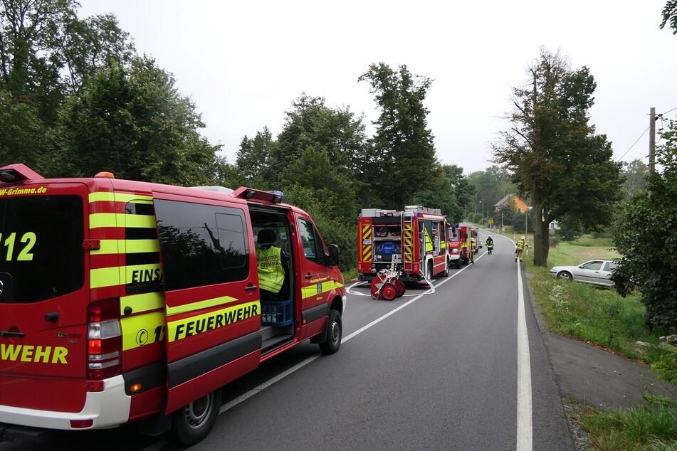 Die angerückten Feuerwehren löschten den Fahrzeugbrand ab, Ersthelfer hatten jedoch schon gute Vorarbeit geleistet.