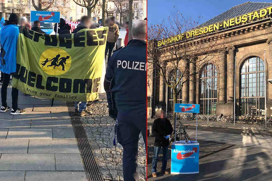 Demonstranten kesseln AfD-Stand am Bahnhof Neustadt ein