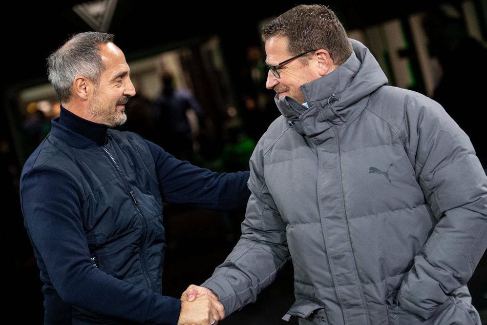 Man versteht sich: Eintracht-Coach Adi Hütter (l.) und Gladbachs Sportdirektor Max Eberl (47) im November 2019 beim Spiel der Frankfurter im Borussia-Park.