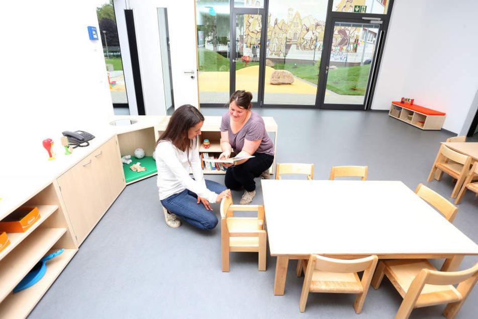 Weiße Wände, kaum Spielzeug: Das gehört zum Konzept der neuen Campus-Kita. Die Kinder sollen die Räume selbst gestalten.