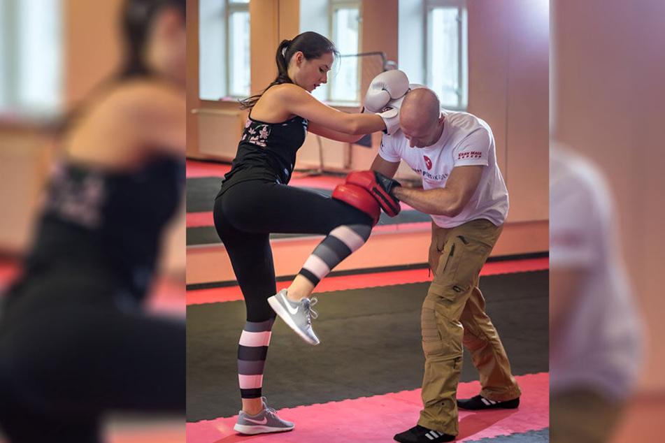 Beim Kickboxen kam MOPO-Reporterin Isabel Möller (21) ganz schön aus der Puste.