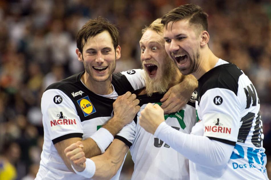 Die deutschen Handballer Uwe Gensheimer (l-r), Matthias Musche und Fabian Wiede.
