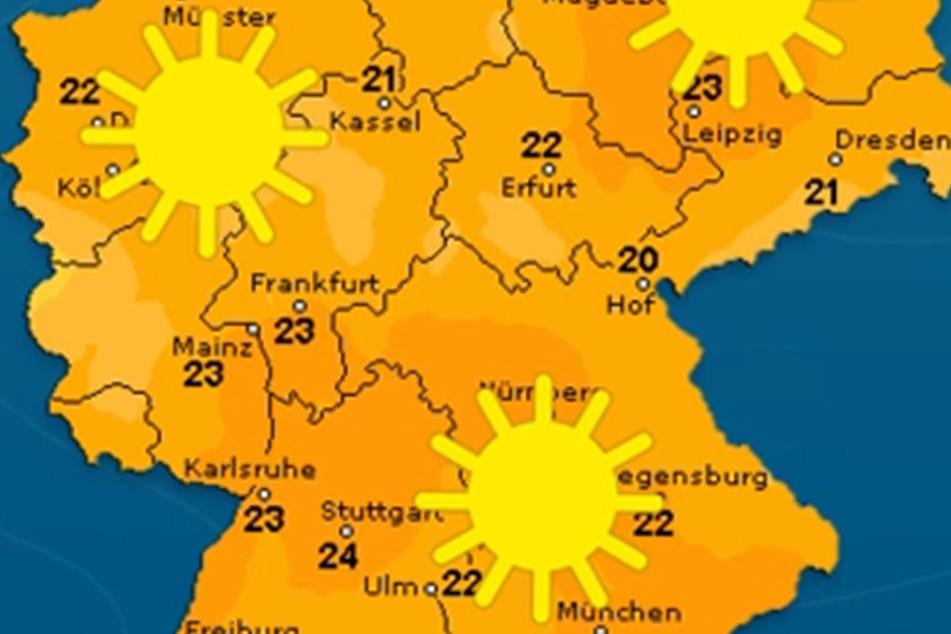 Am Freitag wird es im Freistaat sommerlich warm, die Temperaturen klettern bis auf 25 Grad hoch.