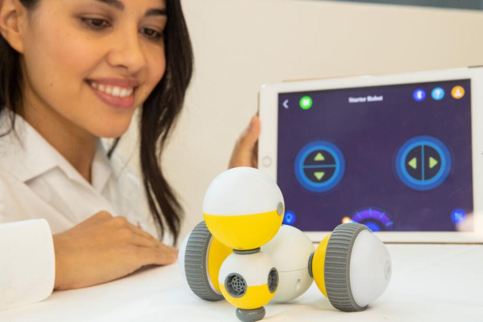 Ein Model präsentiert am den ferngesteuerten Roboter zum Selberbauen von Shenzhen Bell Creative auf der Spielwarenmesse.