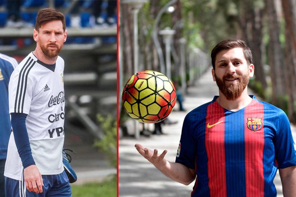 Verblüffende Ähnlichkeit: Links Lionel Messi (30), das Original - rechts sein Doppelgänger.