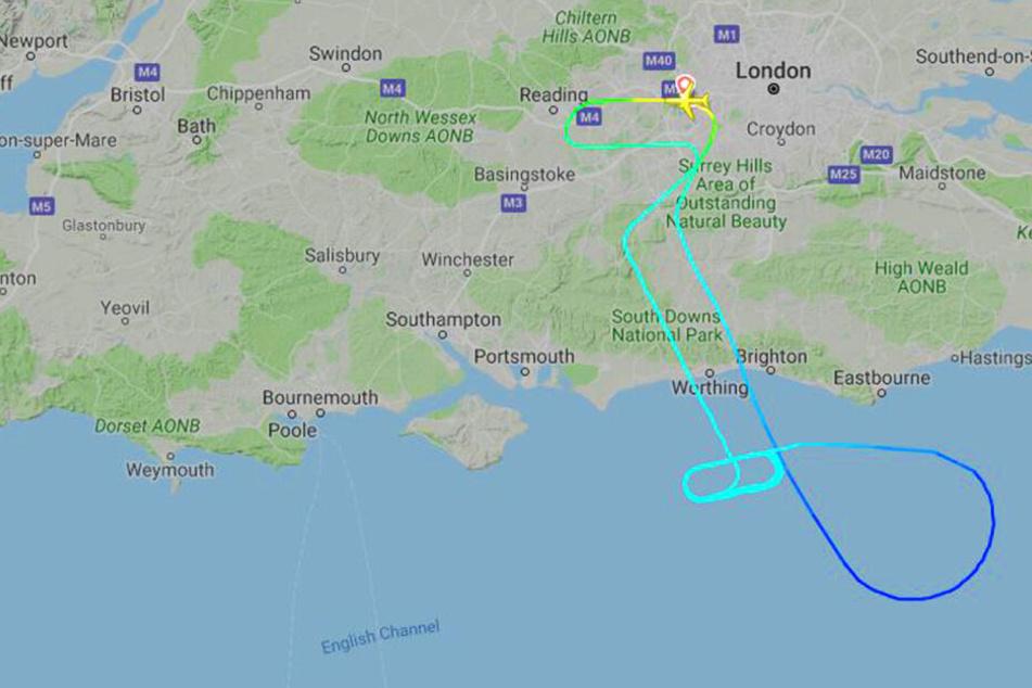 Enge Kreise über dem Ärmelkanal. Der Flug BA119 musste längere Zeit in der Warteschleife verbringen.