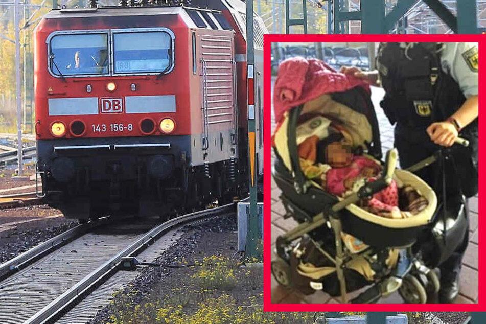 Baby fährt allein im Zug - Mama bleibt am Bahnsteig zurück