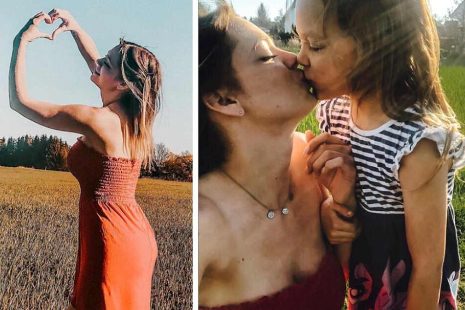Anne Wünsche formt mit den Händen ein Herz (l.) und küsst Tochter Miley (r.). (Bildmontage)