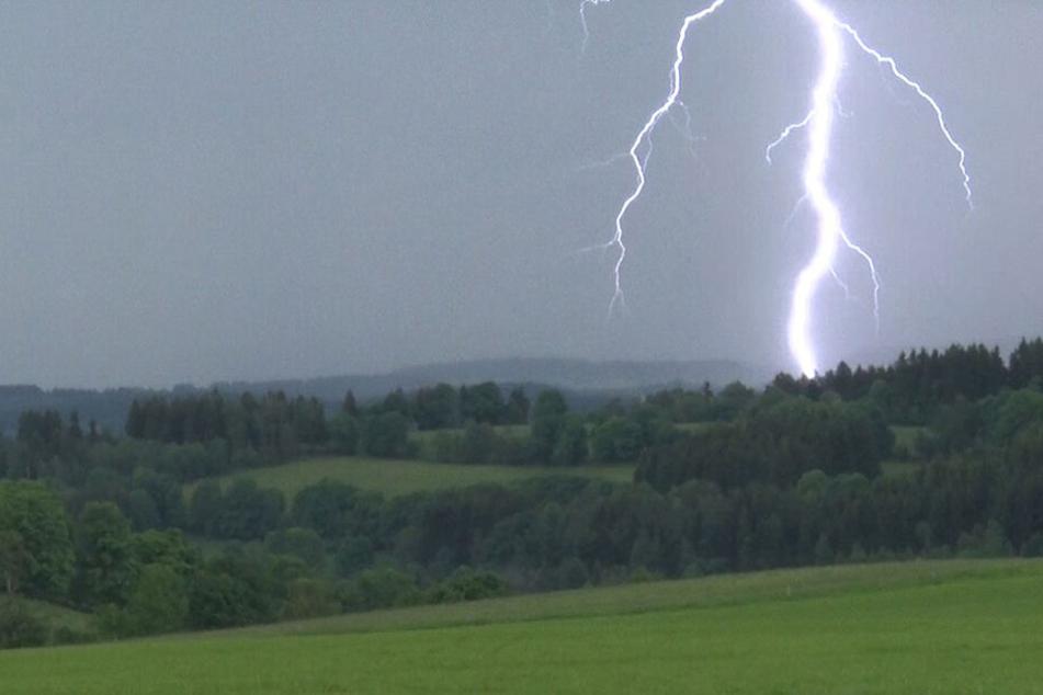 Was ein Anblick! Ein Blitz schlägt in der Nähe von Königswalde ein.