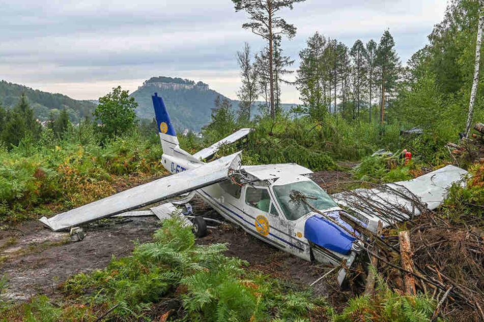Dramatische Requisite: Das Flugzeugwrack im Wald bei Gorisch sieht wirklich aus, wie eben vom Himmel gefallen.