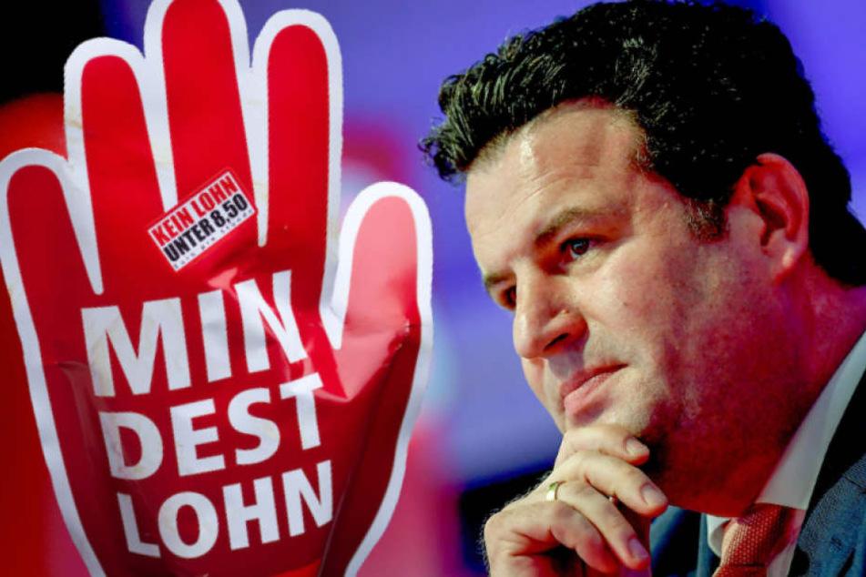 Arbeitsminister Hubertus Heil (45, SPD) erwartet eine deutliche Erhöhung des Mindestlohns, doch das IW tritt auf die Bremse (Bildmontage).