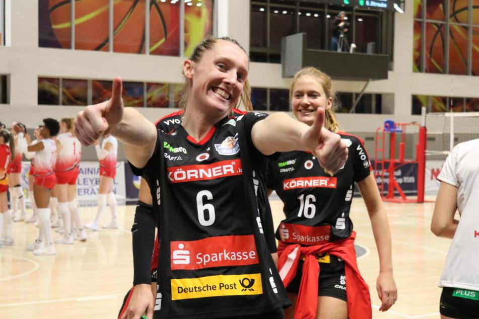 Große Freude bei den Mädels des Dresdner SC.