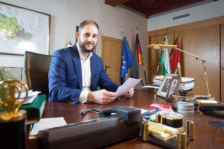 Oberbürgermeister Jesko Vogel (43, Freie Wähler).