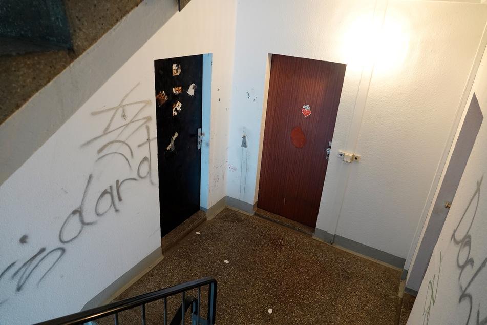 Hier geschah die Bluttat: In einem Treppenhaus des Plattenbaus.