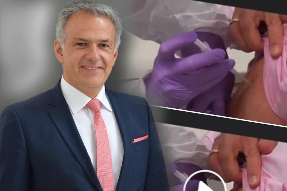 Landrat angeblich mit Schutzkappe geimpft: Was hat es mit diesem Video auf sich?