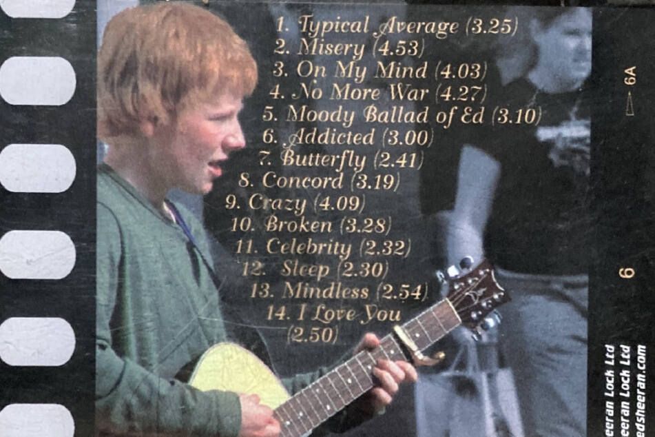 The back of Ed Sheeran's first demo CD called Spinning Man.