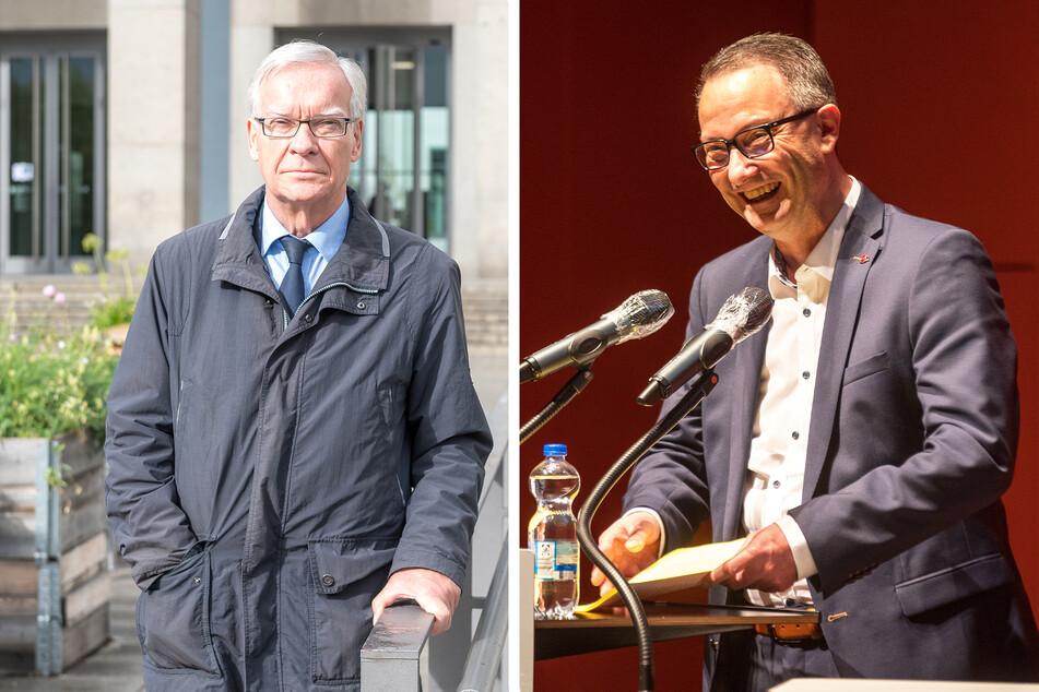 Akademie-Vereins-Chef Stefan Ritter (77, l.) kämpft gegen die Folgen der Corona-Pandemie. Bildungsbürgermeister Jan Donhauser (51, CDU) lobte auch das ehrenamtliche Engagement vieler Helfer und Dozenten der Seniorenakademie.