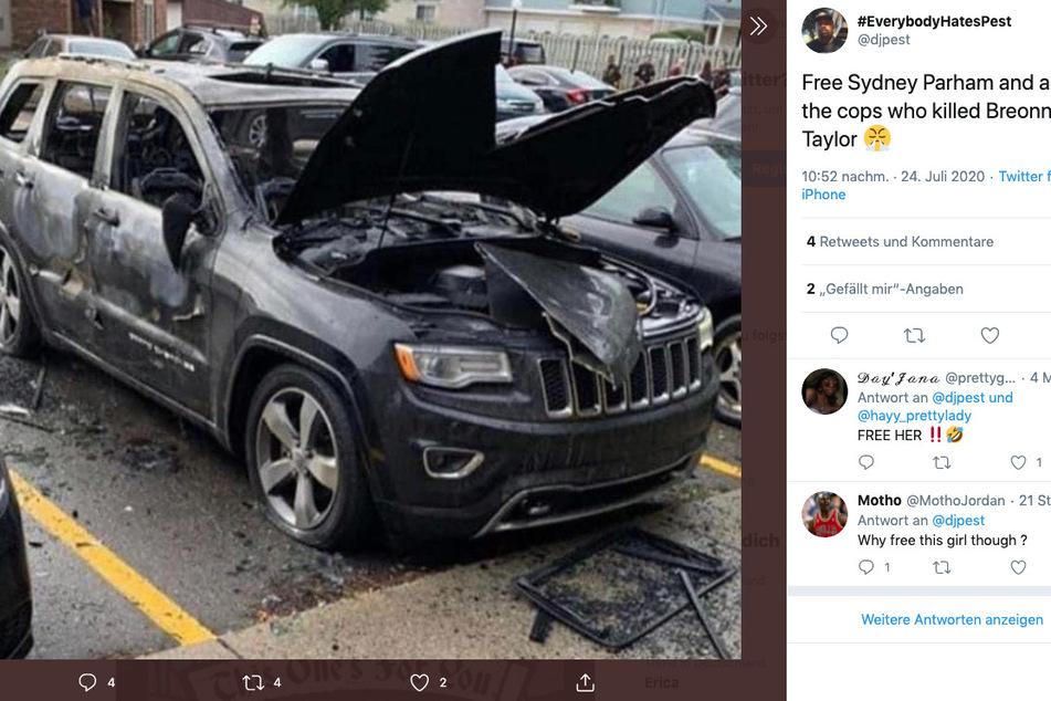 Der ausgebrannte Jeep ist das Werk der betrogenen Sydney Parham.