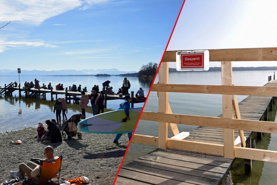 Besuchsverbot am Wochenende: Stege am Starnberger See gesperrt