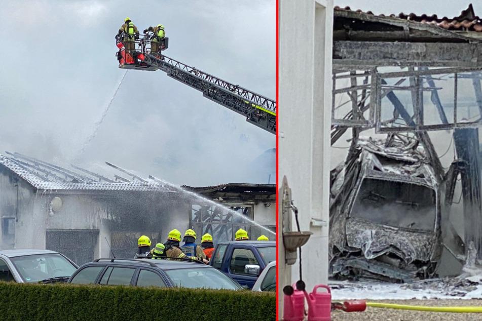 Vom Dach des Gebäudes (links) ist nicht mehr viel übrig. Das Innere der Werkstatt (rechts) ist komplett zerstört. (Bildmontage)
