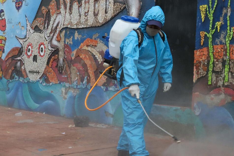 Ein Arbeiter saniert eine Straße in Xochimilco, einem Touristenort in Mexiko-Stadt.